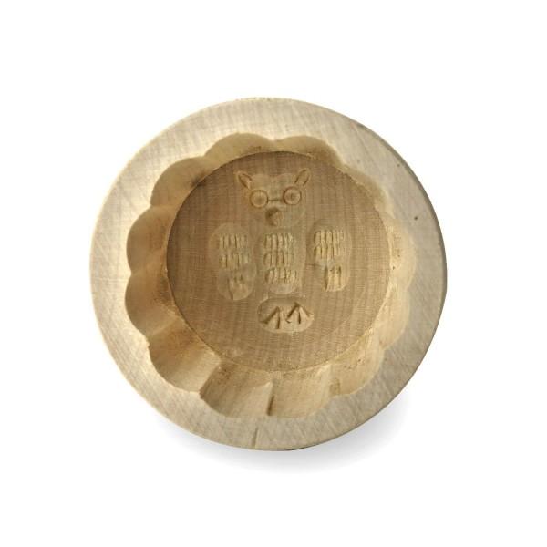 Butterform rund 15 g, aus Ahornholz, 6 cm, Motiv Eule